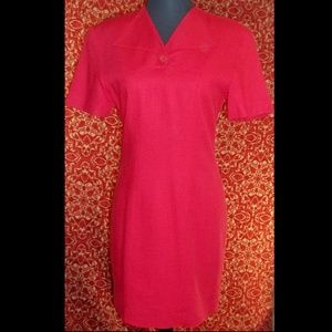 BARAMI VINTAGE red rayon linen shift dress 2